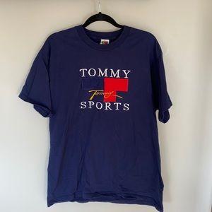Vintage Tommy Sports Men's XL Navy Cotton Short Sleeved T-Shirt